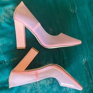 NASTY GAL Barbie Pink Clear Heels